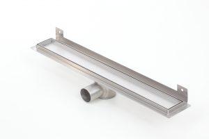 Odpływ prysznicowy liniowy do zabudowy płytką metalowy syfon z wygiętą flanszą